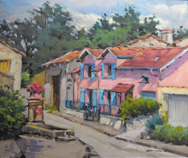 La maison rose à Ménarmont (huile sur toile 55 x 46)