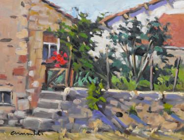 Petit jardin dans le village (huile sur bois 35 x 27)