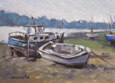 Pochade vieux bateaux ( huile sur carton 33 x 24 )