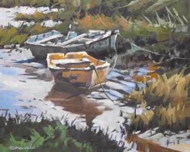 Les barques (huile sur carton 35 x 27)