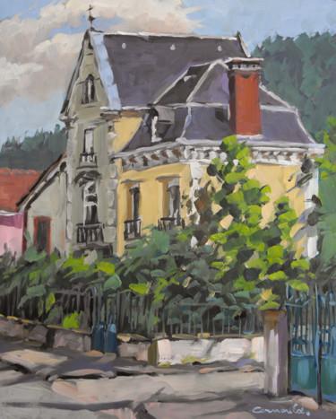 Peinture de commande Maison à Raon l'étape (huile sur bois 41 x 33)