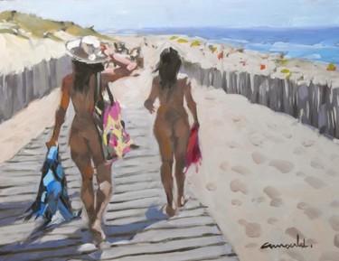 Sur la plage ensoleillée (huile sur bois 35 x 27)
