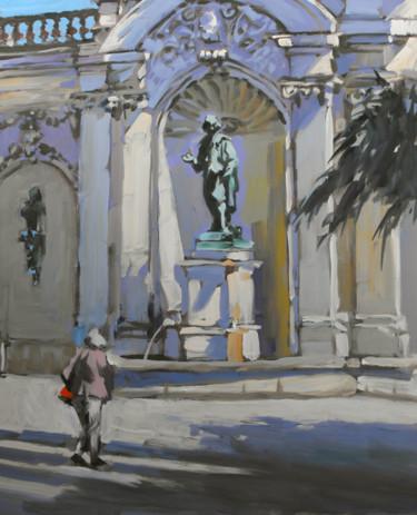 Place Vaudémont à Nancy  (huile sur bois 46 x 38)