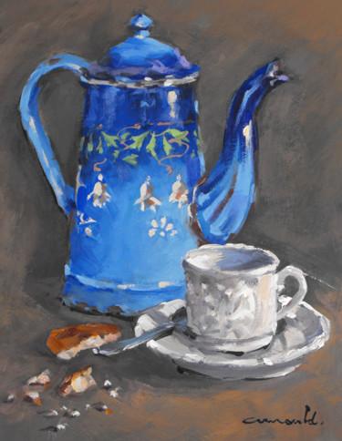 Vieille cafetière bleue (huile sur carton 35 x 27)