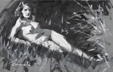 Noir et blanc dans l'herbe ( huile sur carton 35 x 22)