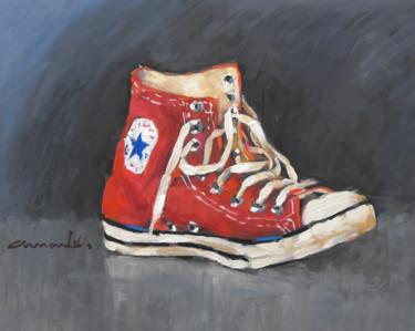 Converse rouge (huile sur bois 41 x 33)