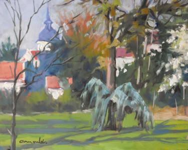 Parc Olry à Nancy (huile sur papier 35 x 27)