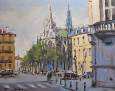 Vers la place Saint Epvre à Nancy (huile sur papier 41 x 33)