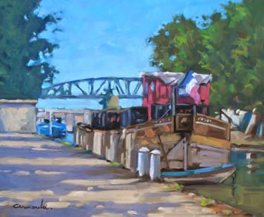 La péniche rouge à Nancy (huile sur toile 46 x 38)
