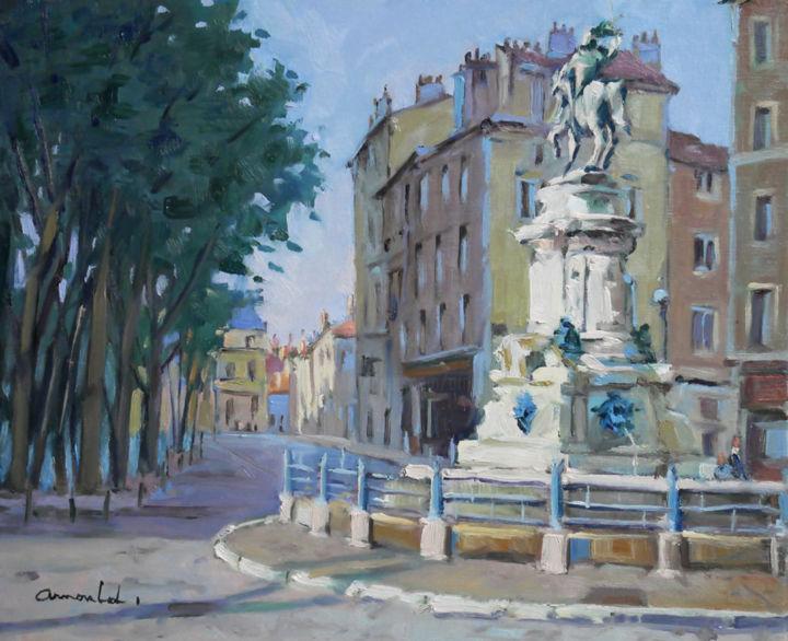 Christian Arnould - Place Saint Epvre à Nancy Hule sur toile 46 x 38)