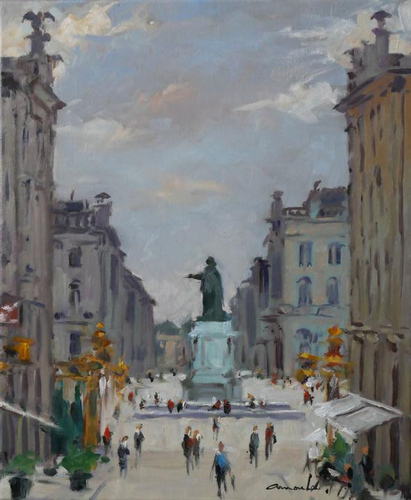 Christian Arnould - Ce matin place Stan (huile sur toile 46 x 38)