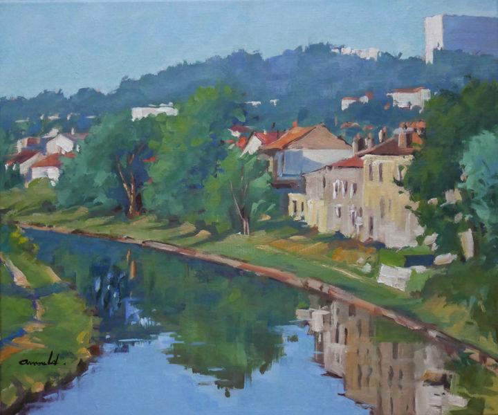 Christian Arnould - Le canal à Maxéville (huile sur toile 65 x 54)