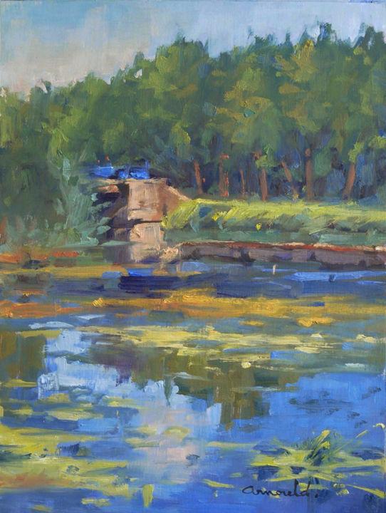 Christian Arnould - Canal à Richarménil (huile sur papier 41 x 33)