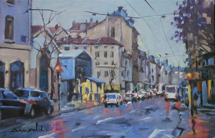 Christian Arnould - Rue Saint Dizier sous la pluie (huile sur toile 41
