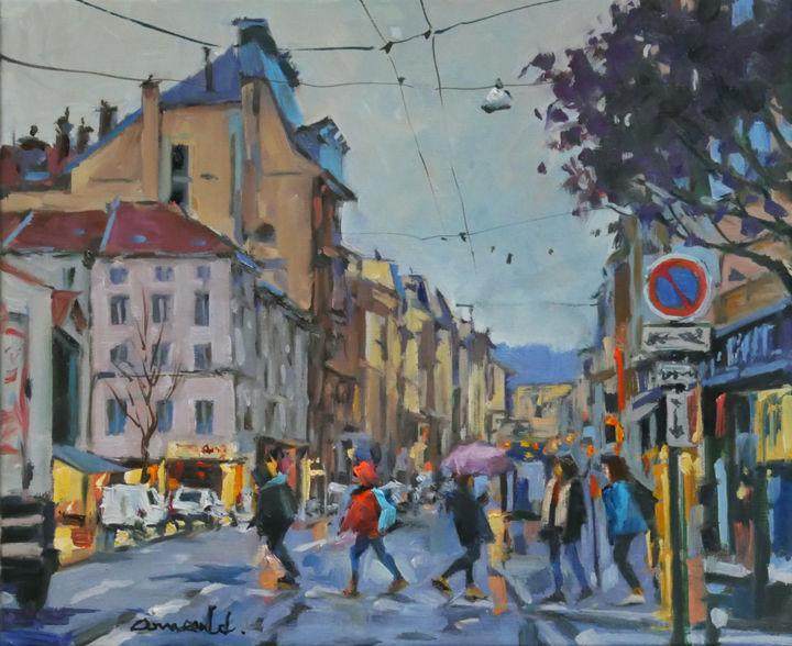 Christian Arnould - Rue Saint Dizier autrement (huile sur toile 46 x 3
