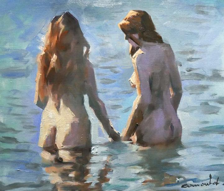 Christian Arnould - Deux copines (huile sur papier 41 x 33)