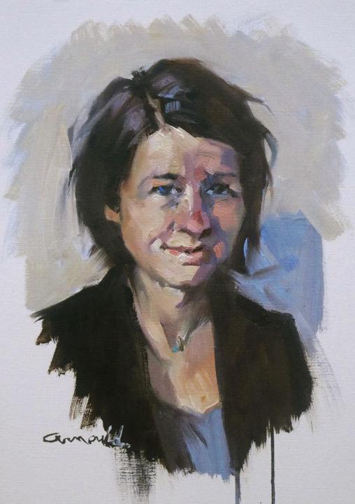 Christian Arnould - Portrait du matin (Huile sur papier 41 x 33)