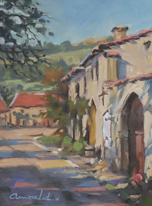 Christian Arnould - Soleil à Gugney (huile sur papier 27 x 22)