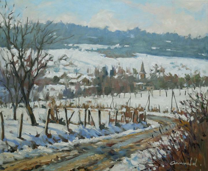 Christian Arnould - Neige à Gugney (huile sur toile 55 x 46)