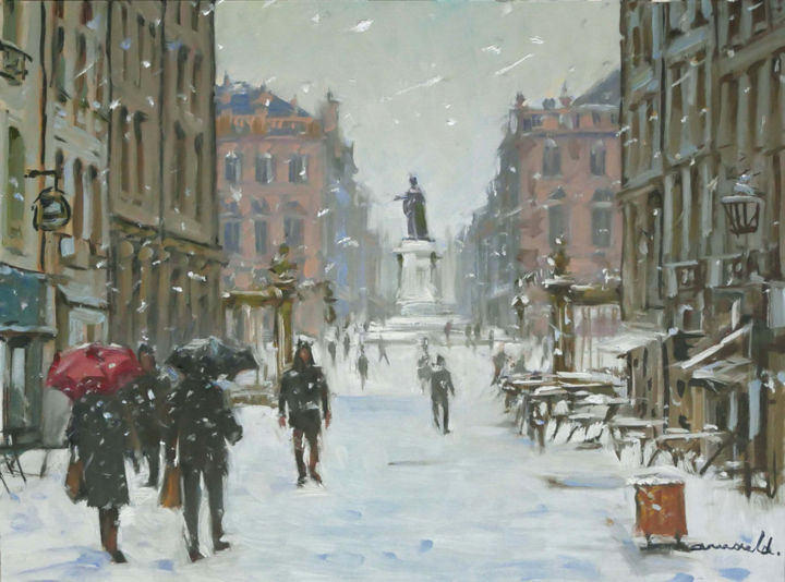 Christian Arnould - Il neige à Nancy (huile sur papier 55 x 46)
