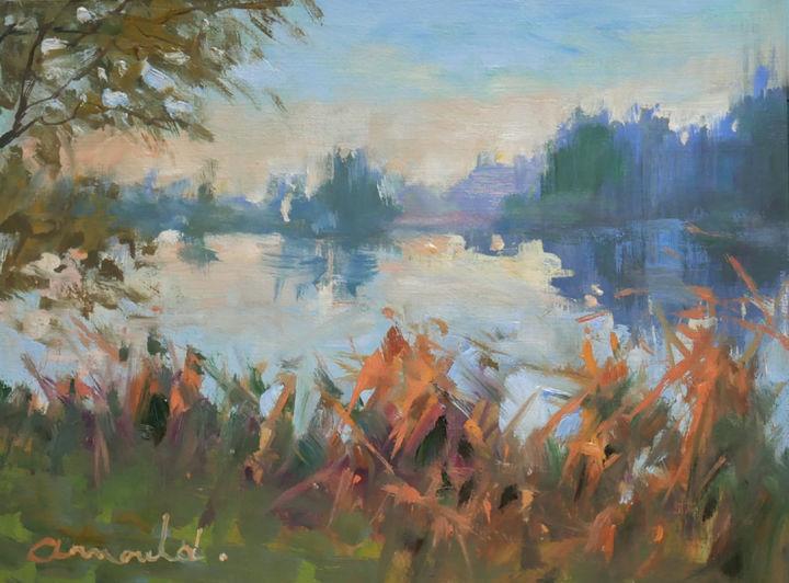Christian Arnould - Etang à Bayon (huile sur papier 27 x 22)