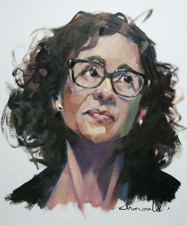 Christian Arnould - Belle femme (huile sur papier 46 x 38)