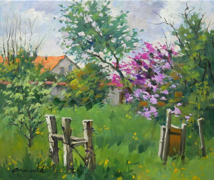Christian Arnould - Lilas dans notre chemin (huile sur toile 55 x 46)