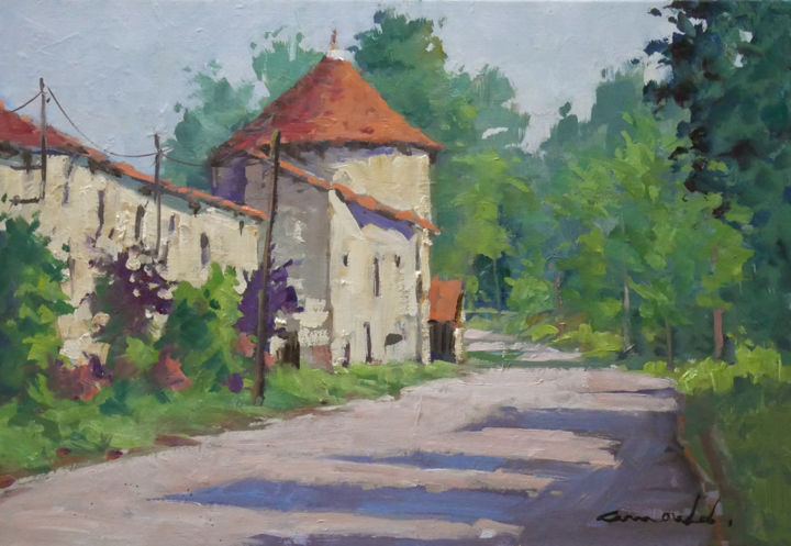 Christian Arnould - Neuviller sur Moselle (Huile sur toile 55 x 38)