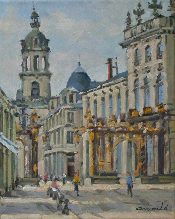 Christian Arnould - Ce matin place Stan (huile sur toile 41 x 33)