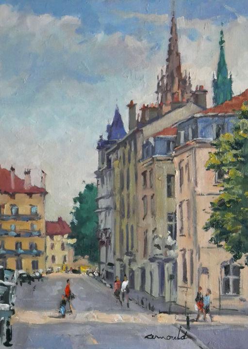Christian Arnould - Rue d'Amerval ce matin (huile sur toile 46 x 33)