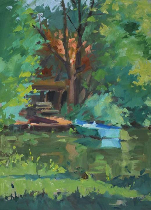Christian Arnould - Pochade barque bleue (huile sur papier 33 x 24)