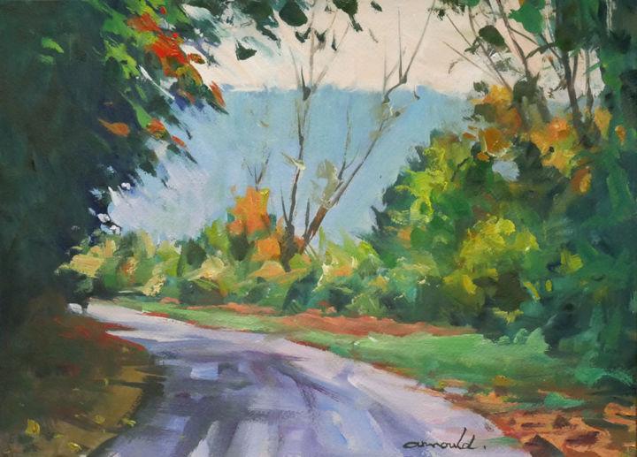 Christian Arnould - Sur le haut de Flavigny (huile sur papier 35 x 27)