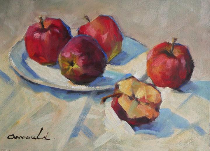 Christian Arnould - Pommes de grenier (huile sur papier 41 x 33)