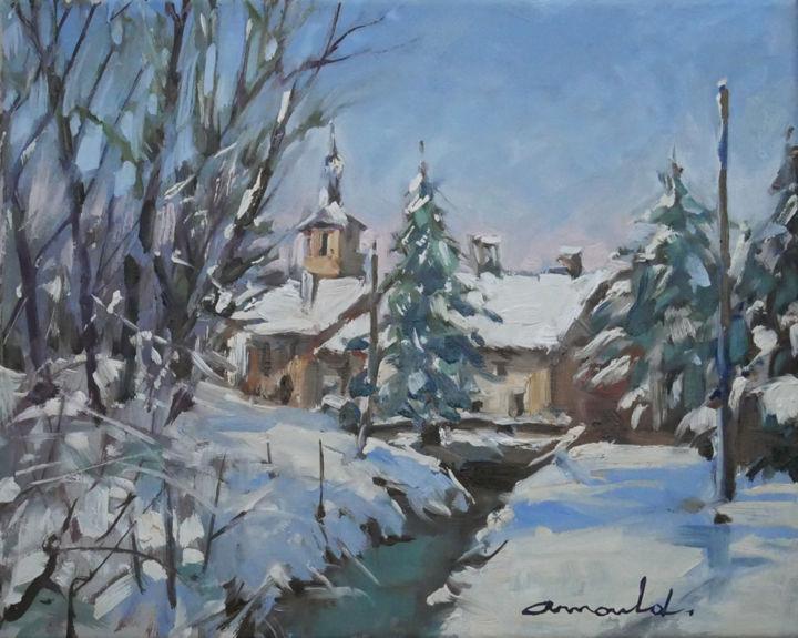 Christian Arnould - Démo neige filmée (huile sur toile 41 x 33)