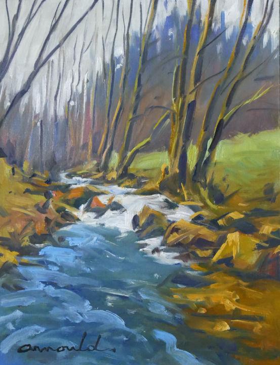 Christian Arnould - Ruisseau Vosgien 2 (huile sur papier 40 x 27)