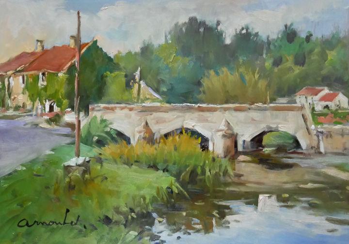 Christian Arnould - Le pont (huile sur papier 41 x 30)