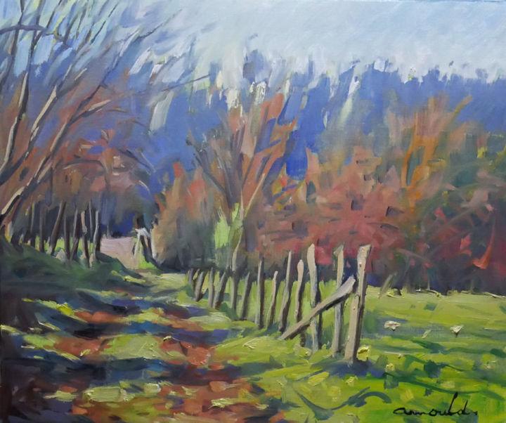 Christian Arnould - Chemin ombré (huile sur papier 46 x 38)