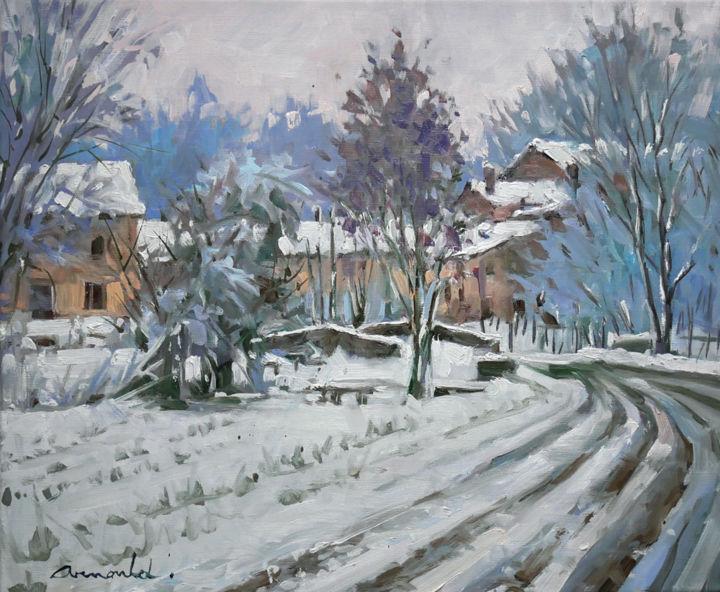 Christian Arnould - Dimanche matin à Froville (huile sur toile 55 x 46