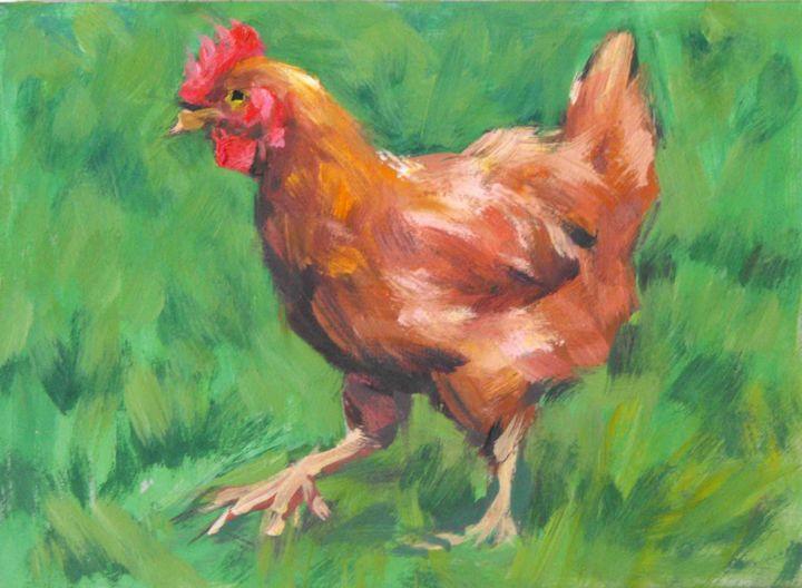 Christian Arnould - La poule de mon voisin (huile sur carton 22 x16)