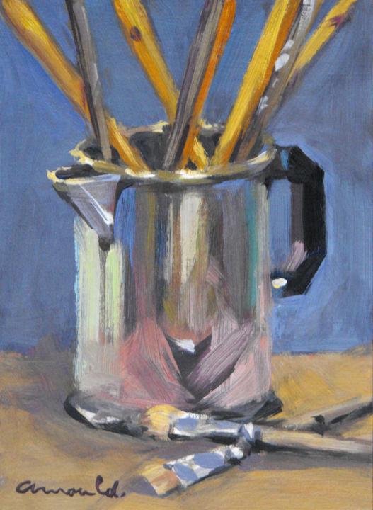 Christian Arnould - Pot en étain (pochade huile sur carton 22 x 16)