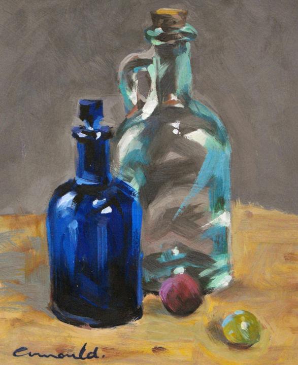 Christian Arnould - Flacons en verre  - pochade huile sur carton 27 x 22