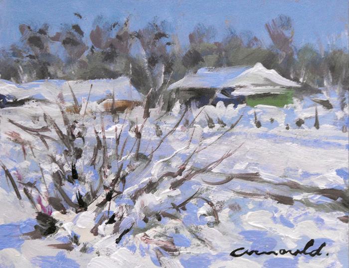 Christian Arnould - Pochade (en face de chez moi) Huile sur carton 18 x 14