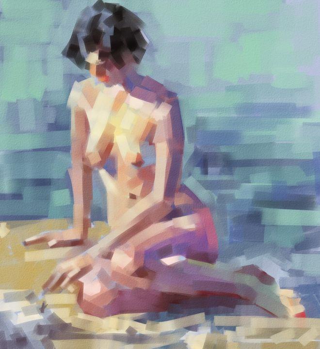 Christian Arnould - Nu au couteau - Paint Tool SAI -