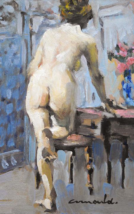 Christian Arnould - Pochade nu 1900 (huile sur carton 22 x 14)