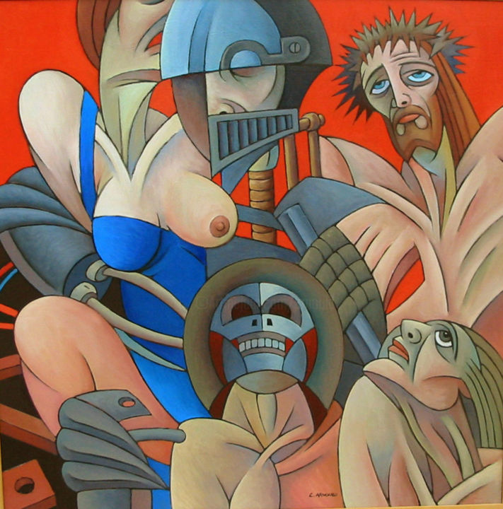Christian Arnould - Crucifixion - huile sur toile - 1990