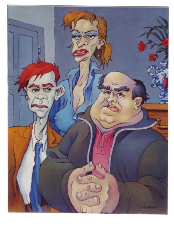Christian Arnould - Famille - Huile sur toile - 1990