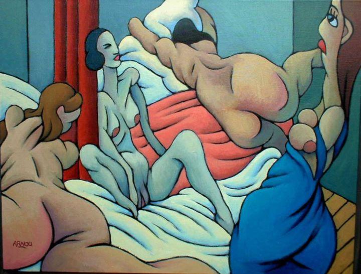 Christian Arnould - Chambre de femmes - Acrylique sur toile