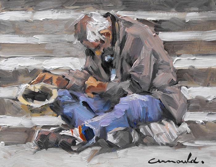 Christian Arnould - Pochade d'après photo (huile sur carton 22 x 16)