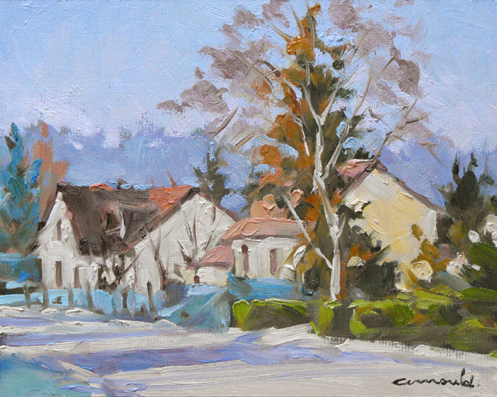 Christian Arnould - Dans Azerailles (Pochade huile sur carton 24 x 19)