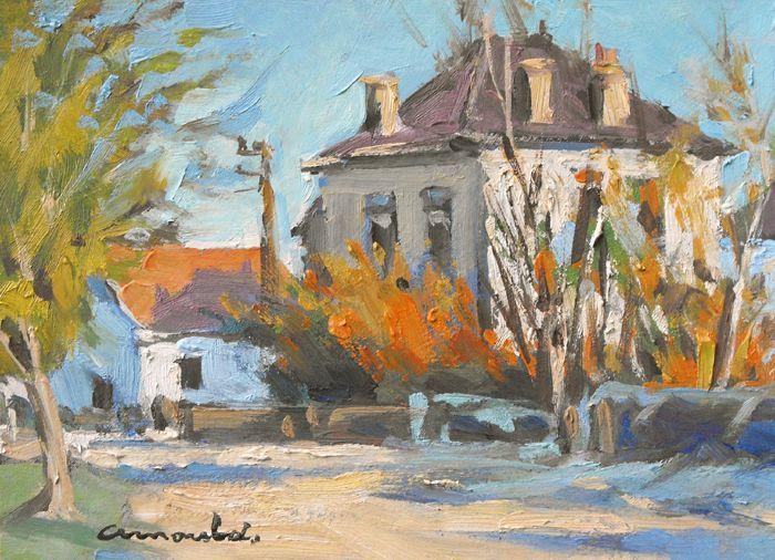 Christian Arnould - Quartier de la gare à Azerailles (Pochade huile sur carton 22 x 16)
